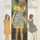 Simplicity 5465 (1972) Vintage Junior Teens Misses Smock Mini Dress Pattern Size 12 UNCUT
