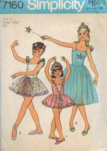 Simplicity 7160 (1975) Vintage Childs Girls Ballet Costume Dress Panties Pattern Size 10 UNCUT