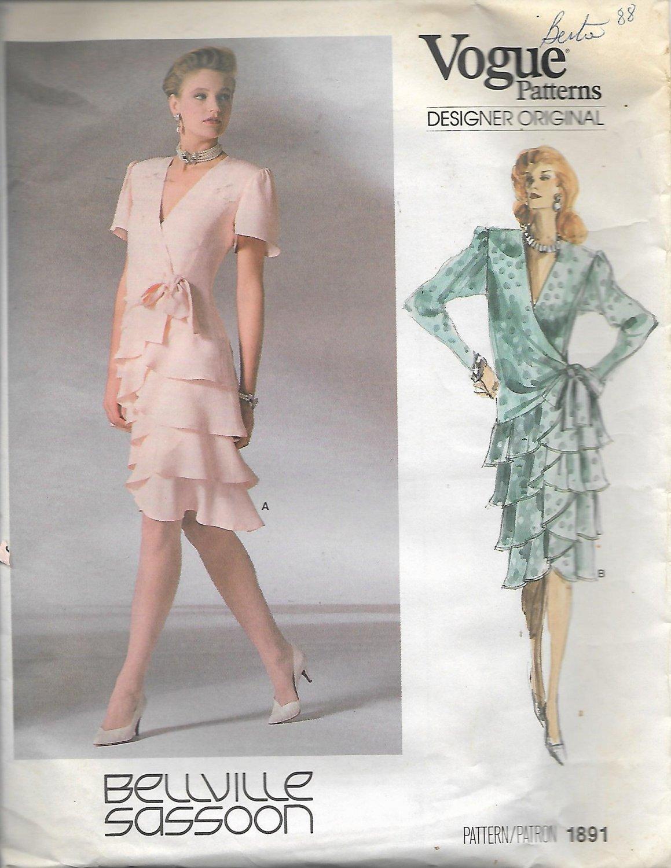Vogue 1891 (1987) Wrap Drop Waist Flounce Dress Pattern Size 12 UNCUT