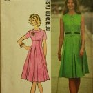 Simplicity 9860 (1970s) Vintage Designer Fashion Princess Pleat Dress Pattern Size 8 CUT