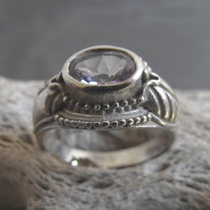 Sterling Silver And Large Amethyst Ring (sz.7)