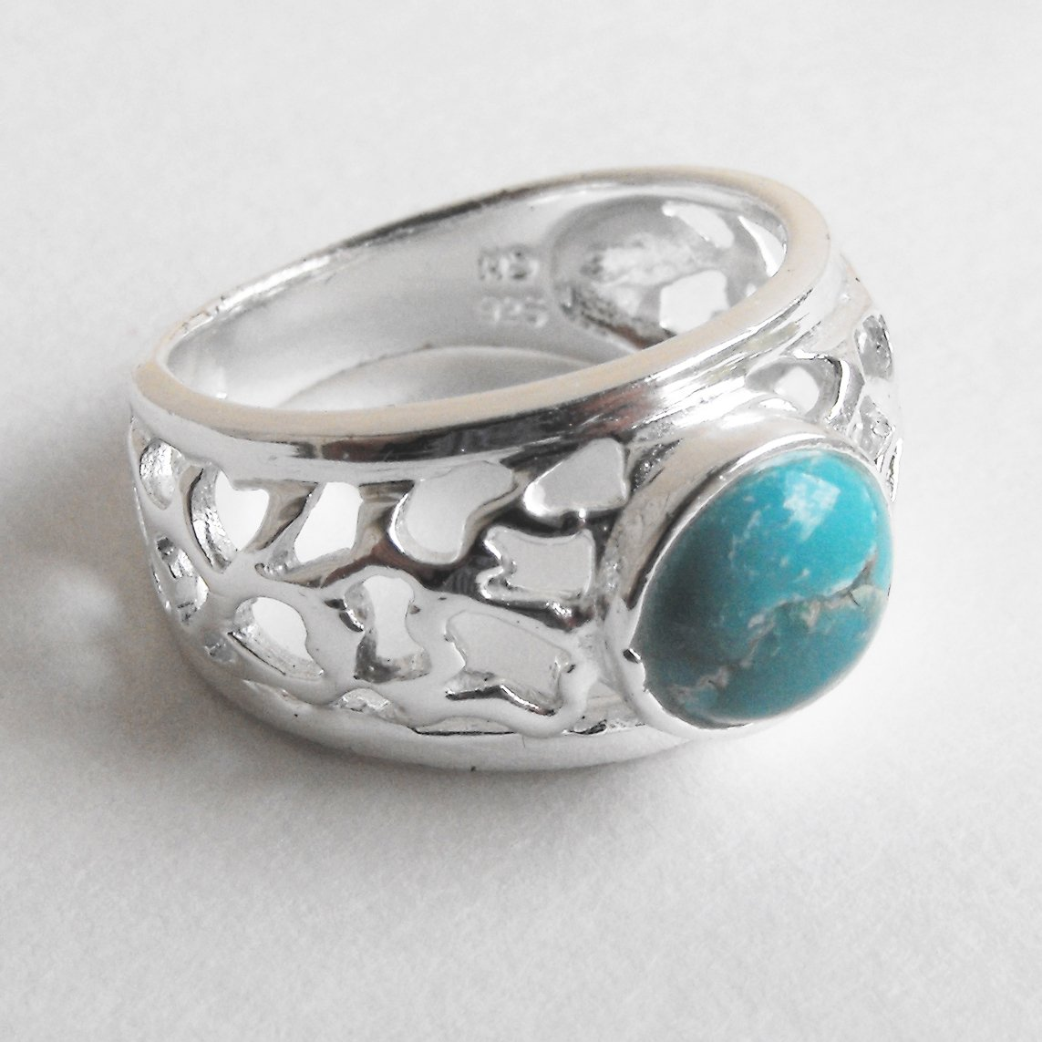 Sterling Silver And Turquoise Ring (sz.7)