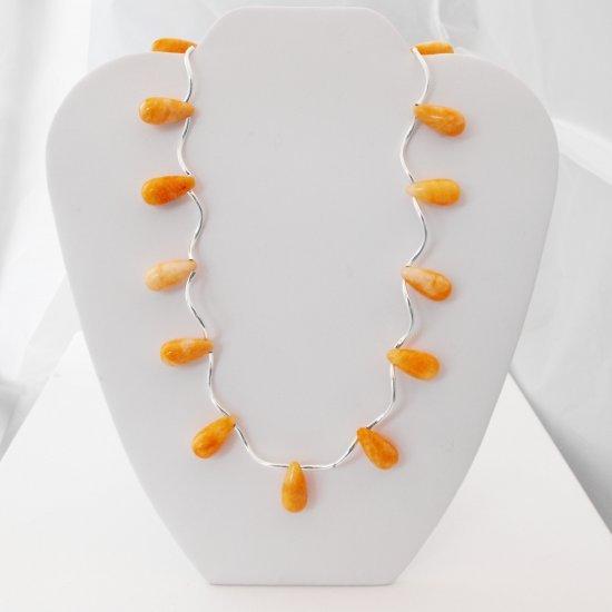 Tangerine Jade Teardrop Necklace