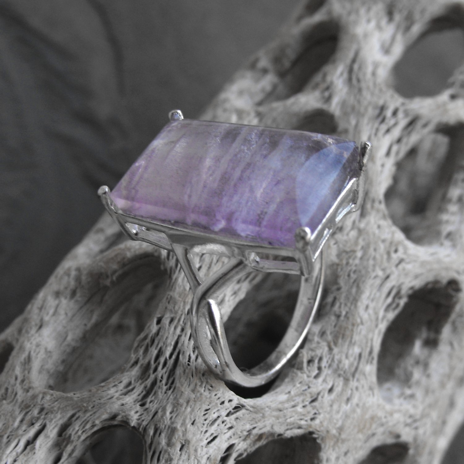 Large Amethyst And Sterling Silver Ring (sz.8)