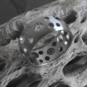 Stainless Steel Swiss Cheese Ring (sz.9,11)