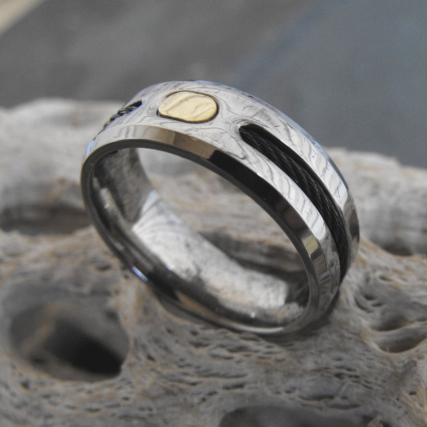 Men's Titanium And Cable Ring (sz.10½, 11½, 12½)