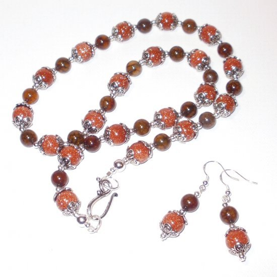 Gold Star And Dragon Vein Agate Necklace Set