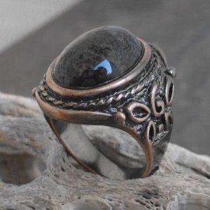 Copper And Ocean Jasper Stone Ring (sz.10)