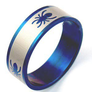 Blue Stainless Steel Spider Ring (sz.10)