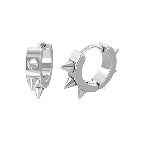 Stainless Steel Spiked Hoop Earrings
