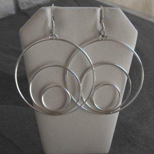 Sterling Silver Earring Tri-Hoop Earrings