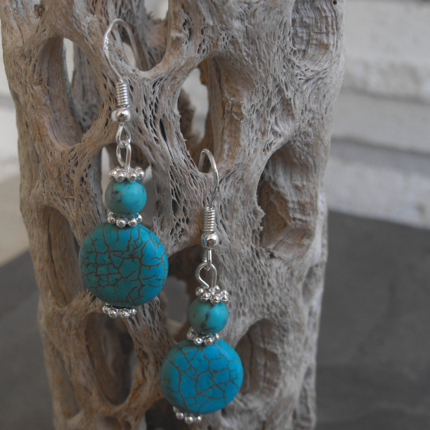 Turquoise Coin Drop Earrings