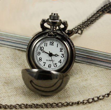 Stainless Steel Black Ball Pendant Watch With Chain