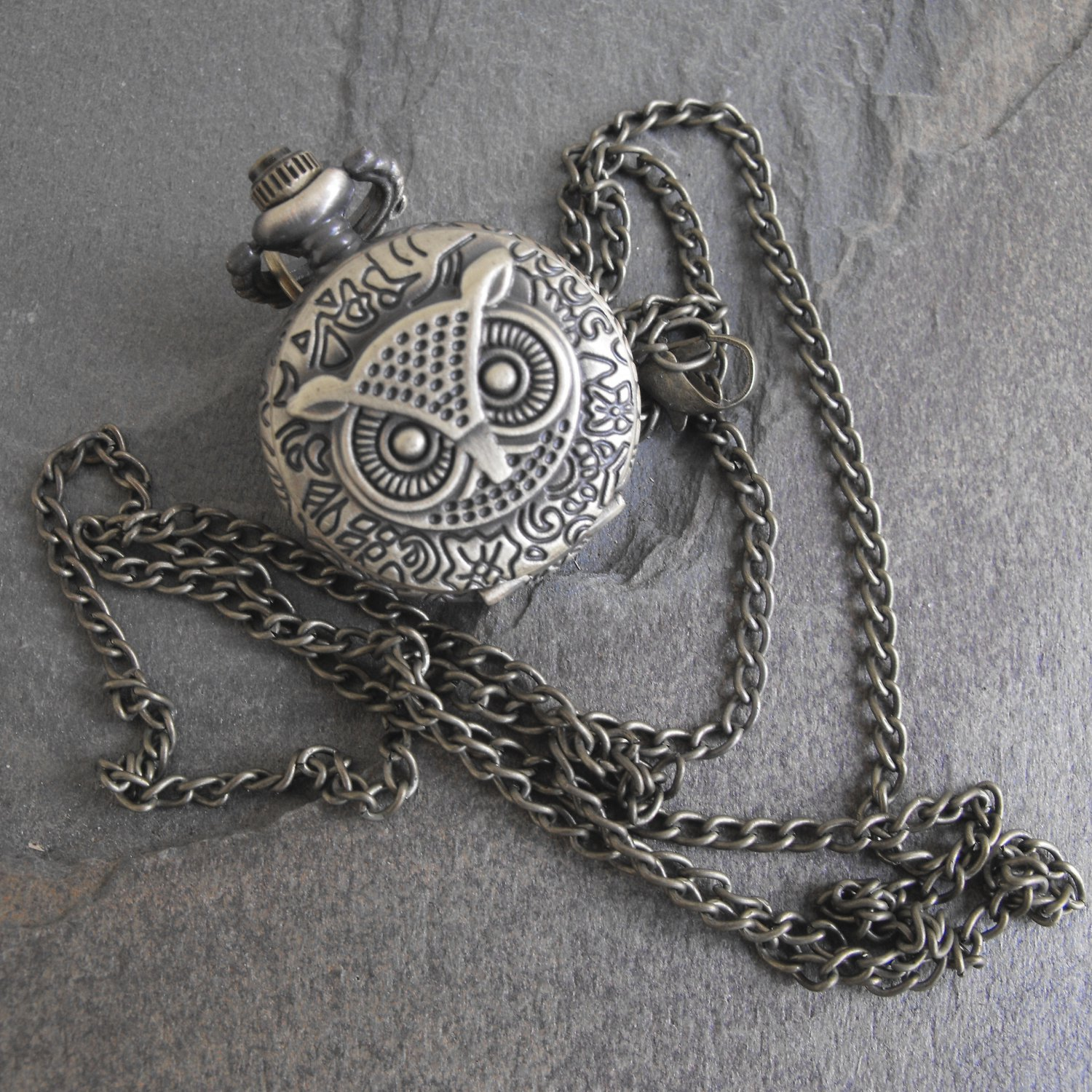 Antique Copper Owl Pendant Timepiece With Chain