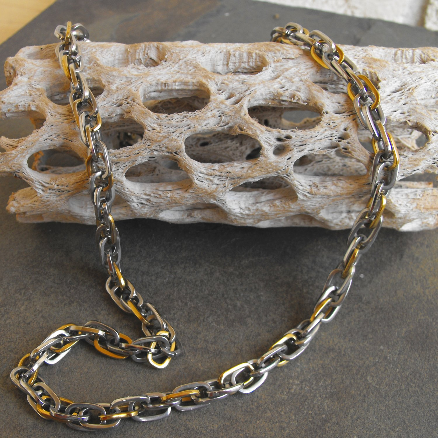 Two Tone Stainless Steel Necklace