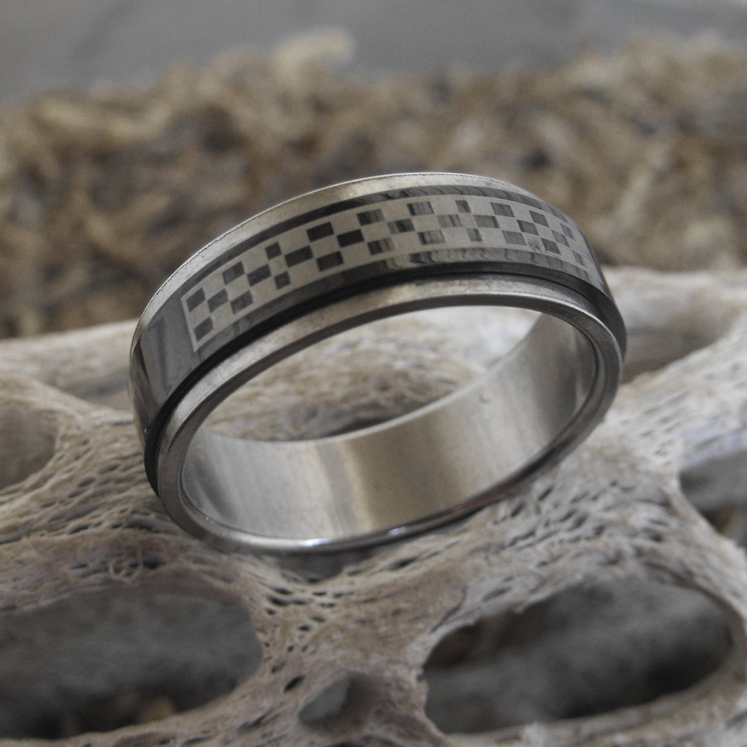 Stainless Steel Black Checkerboard Spinner Ring (sz.13½)