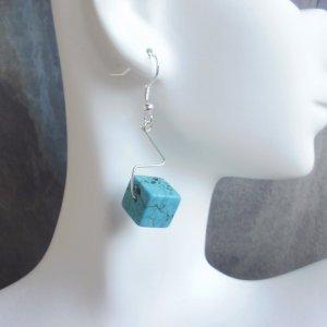 Southwestern Turquoise Cube Earrings