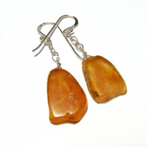 Amber Agate And Sterling Silver Errings