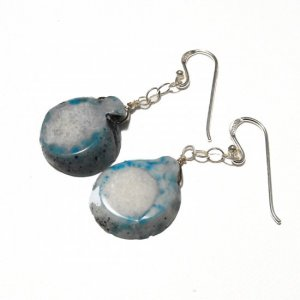 Blue And White Agate And Sterling Silver Earrings