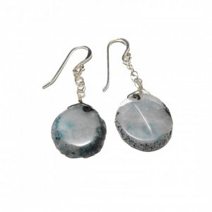 Blue/White/Black Agate And Sterling Silver Earrings