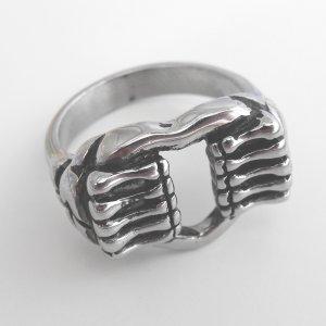 Stainless Steel Skull Hands Ring (sz.14)