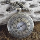 Large Roman Numeral Face Pocket Watch With Clip Chain
