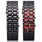 Hidden L.E.D. Display Black Stainless Steel Watch (r)