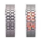Hidden L.E.D. Display Silver Stainless Steel Watch (r)