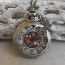 Open Sunflower Design Pocket Watch With Chain