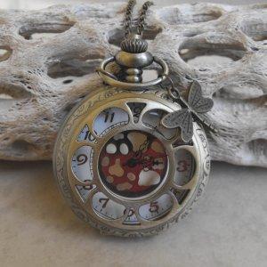 Open Sunflower Design Pocket Watch With Chain