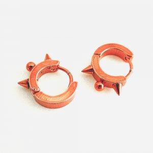 Stainless Steel Hoop Huggie Earrings Red
