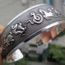 Tibetian Silver Horoscope Cuff Bracelet Unisex
