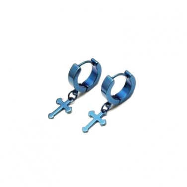 Blue Stainless Steel Hoop Huggie Earrings With Cross