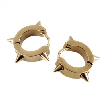 Stainless Steel Hoop Huggie Spike Punk Earrings (gold)