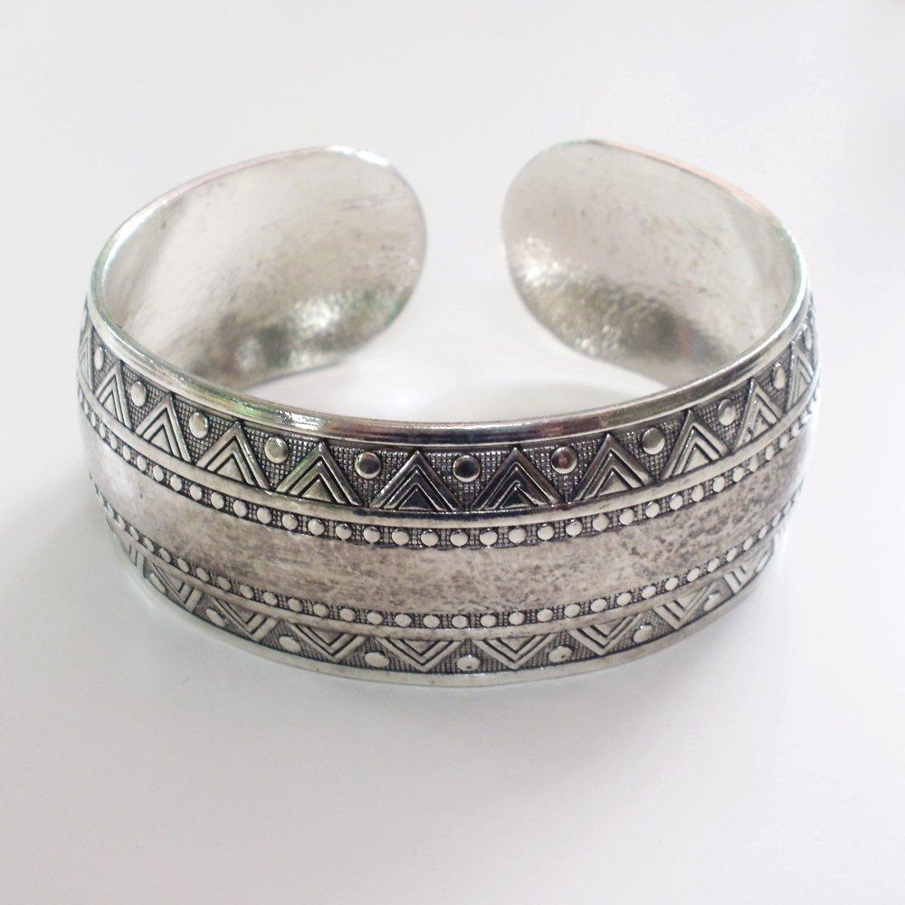 Tibetian Silver Tribal Cuff Bracelet II Unisex
