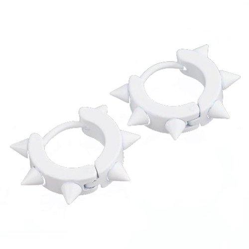 Stainless Steel Spiked Hoop Huggie Stud Earrings (wh)