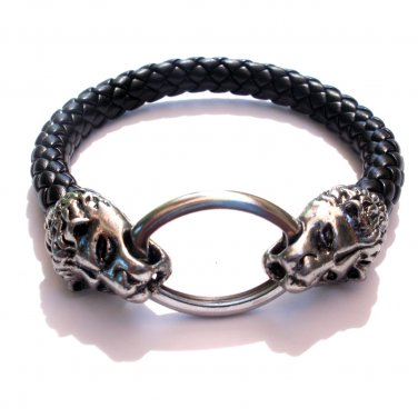 Silver Stainless Steel Lion Leather Bracelet