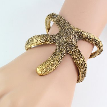 Ocean Starfish Bangle Cuff bracelet Gold Bronze