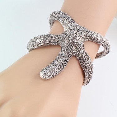 Ocean Starfish Bangle Cuff Bracelet Silver