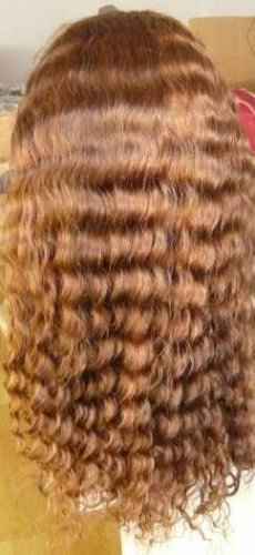 100% Indian Remy Full Lace Wig 18 inch Water Wave color 4/30