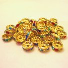 Rhinestone Rondelle Spacers 10mm 100 PCS