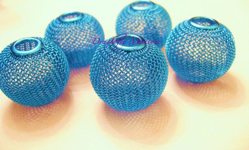 Mesh Ball Bead 30mm Turquoise