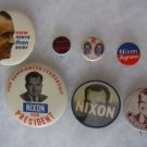 Lot of 8 Original Richard Nixon Political Campaign Pin Pinbacks
