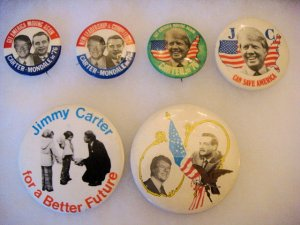 Lot of 6 Original Jimmy Carter Political Campaign Pin Pinbacks