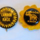 Lot of  2 Landon and Knox Political Campaign Pinbacks 1936