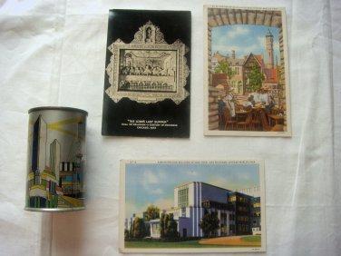 1934 Chicago World's Fair Century of Progress Tin Litho Bank + 3 Postcards