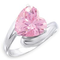 4 Ct Pink Heart CZ Ring (A52506)