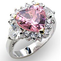 Rosette Pink Heart CZ Ring (A34106)