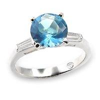 Aqua Blue Solitaire Ring (A6X065)