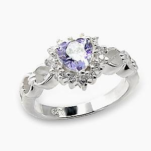 Light Amethyst CZ Heart Ring (A6X078)